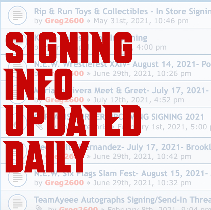 Autograph Signings Listing